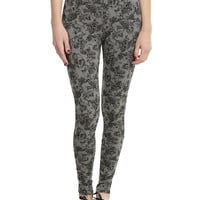 Grey & Black Skull & Roses Leggings