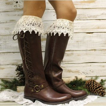CAMELIA tall lace boot sock - ivory