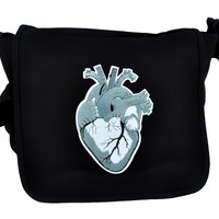 Anatomical Human Heart Messenger Bag Cross Body Handbag Medical Style