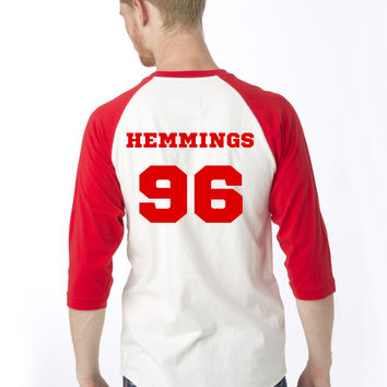 5SOS Red/White Baseball T Shirt Clifford, Hemmings, Hood or Irwin