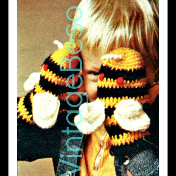 CROCHET BumbleBee Mittens 1970s Vintage Crochet Pattern Winter Christmas Cold is warmed by mittens and the love of spring w delightful bees
