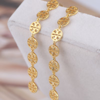 Tory burch fashion metal hollow-out logo long earrings earring female