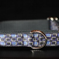 Upcycled Necktie Dog Collar - Gray, Lilac and Periwinkle Tie Recycled into Martingale Dog Collar - by Pitches Stitches