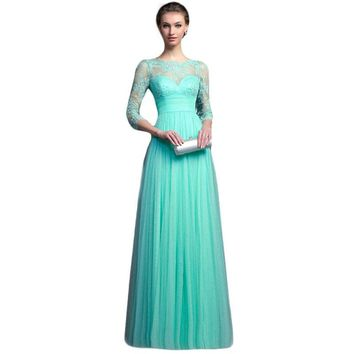Mesh Hollow Out Evening Party Elegant Women Maxi Dress Plus Size Sexy Peplum Lace Patchwork Floor Length Dress Vestidos **