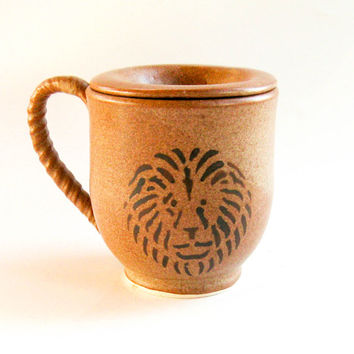 Mug with Lid - Lion Design - Cup & Saucer - Handmade Pottery