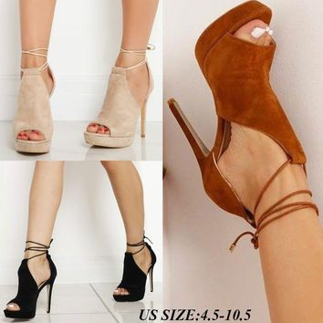 Women Shoes High Heel Sandals Ankle Lace Up Fashion Causal Size 4.5 - 10.5