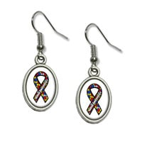 Autism Awareness Ribbon on White Dangling Drop Oval Earrings