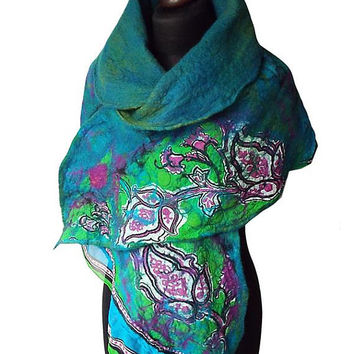 Nuno Felted Scarf Nuno Felted Collar Turquoise Green Purple Hand Felted Shawl Art to wear Neck Warmer Women's Gift Felted Silk scarf OOAK