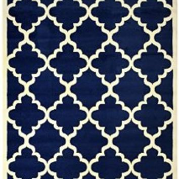 "Modela Collection Trellis Modern Area Rug Rugs (Navy Blue, 4'9""x6'10"")"