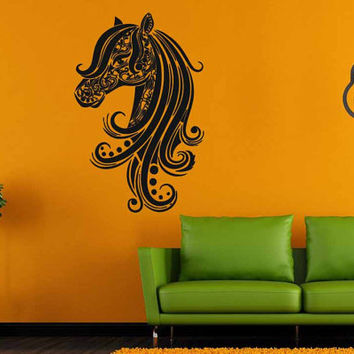 Abstract Horse Head Floral Style Room Wall Vinyl Sticker Decal Art Decor 1380