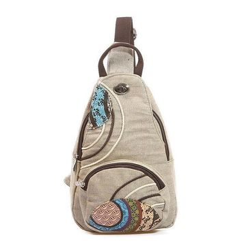 Women National Floral Linen Chest Pack Casual Outdoor Forest Crossbody Bag