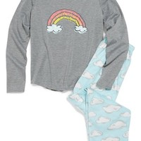 PJ Salvage 'Blue Skies' Two-Piece Pajamas (Little Girls & Big Girls) | Nordstrom