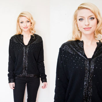 Vintage 1960s Cardigan Sweater - Black Wool Sequin Embellished Long Sleeves 50s - Large