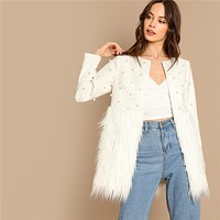Office Lady Solid Pearl Embellished Faux Fur Round Neck Jacket Workwear Casual Women Coat Outerwear