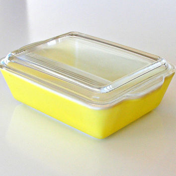 Vintage Pyrex Refrigerator Dish Primary Yellow 503 B Covered Baking Dish 1.5qt Rectangular
