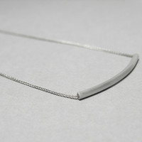 Silver curved tube necklace, silver bar necklace, everyday layering necklace, minimalist dainty jewelry