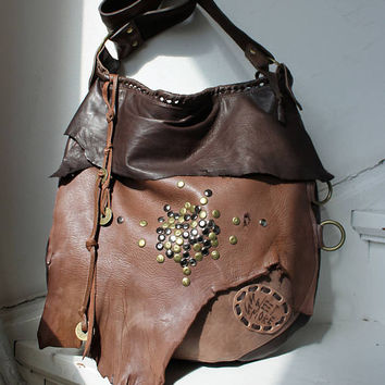 Brown color distressed leather hobo few tones bag fringe  bohemian purse festival bag unique by sweetsmokebags gypsy free people tribal