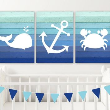 Boy Nautical Nursery Decor, Nautical Nursery Wall Art, Nautical Nursery Art Pictures, Ombre Wood CANVAS or Print Whale Anchor Crab Set of 3