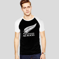 Rugby New Zealand All Blacks For Short Raglan Sleeves T-shirt, Red Tees, Black Tees, Blue Tees **