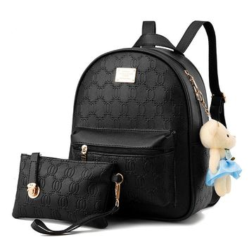 Llady's small bag soft leather Student Backpack