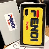 Fendi Fashion New Letter Print Women Men Leather Protective Cover Phone Case Yellow