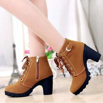 Women Platform High Heel Single Shoes Vintage Women Motorcycle Boots Martin Boots = 19
