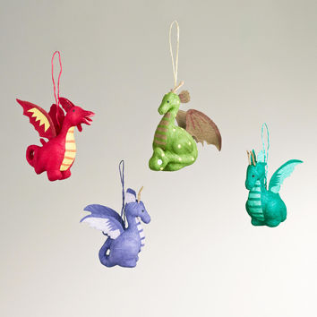 Paper Dragon Ornaments,  Set of 4 - World Market