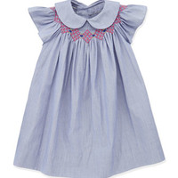 Sophie Smocked Bishop Dress, Denim
