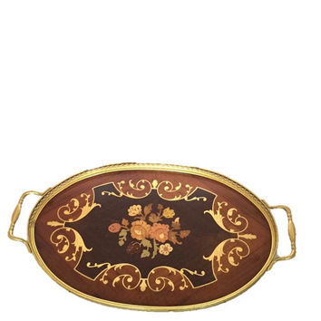 Large Marquetry Inlaid Wood & Brass Serving Tray with Flowers, Vintage Mid Century, Made in Italy