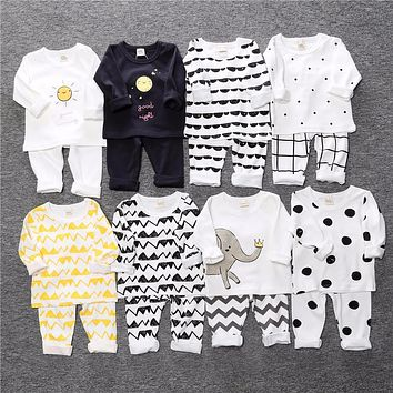Children's clothing boy girls set children clothing sets autumn baby pajamas cartoon printed long sleeve clothes for child ST268
