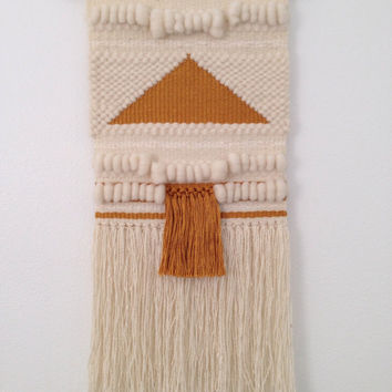 Hand Woven Wall Hanging / Weaving / Large Gold & Cream Weaving With Lots of Texture / Tapestry