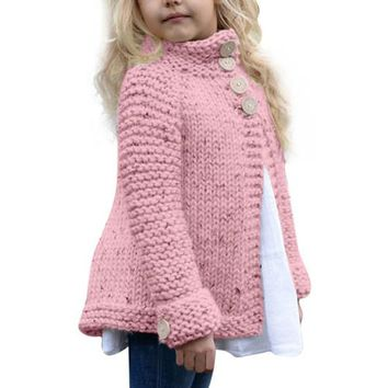 Kids Button Knitted Sweater Cardigan Coat