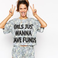 ASOS Girls Just Wanna Have Funds Pyjama Crop Tee & Short Set