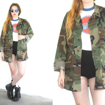 Vintage 90s ARMY CAMOUFLAGE Military Utility Jacket // Green Brown Black Multi // Hipster Grunge Boho // Small / Medium / Large