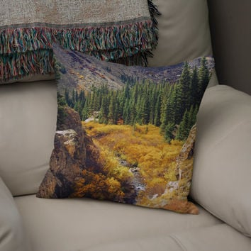 Autumn Forest Pillow, Colorado Home Decor, Mountain Theme, Fall Leaves Pillow, Nature Pillow, Autumn Couch Cushion, Colorado Scene