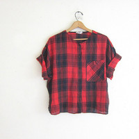 Vintage red and black plaid shirt / cropped grunge shirt / semi sheer