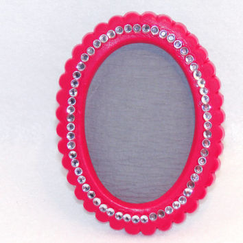 Magnet Photo Picture Frame Oval 2.5 X 3.5 Bright Pink Sparkling Crystal Rhinestones Valentine's Day