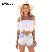 Blusas 2016 Summer Style Womens Boho Blouse Sexy Women Lace Patchwork Casual Off Shoulder Solid Shirts Slash Neck Tops Plus Size