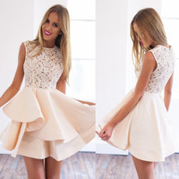 New Women Cute Romantic Dress Lace Stitching Sleeveless Flare Mini Dress Fashionable Vestido de Festa Curto DR05579