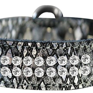 Two Row Clear Crystal Jeweled Dragon Skin Genuine Leather Dog Collar Silver Size 20