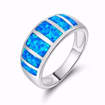 2017 925  jewelry New Crystal from Swarovski Angel Girl Simple Ring Round Blue Fire Opal Rings for Women Trendy Engagement