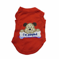 "Dog T Shirt, Clothes, ""I'm adopted"" Embroidery Applique, Rescue Dog, XS, Small, Medium"
