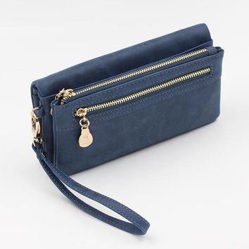 Hot Selling Purse PU Leather High Capacity Double Zippers Clutch Purse Wrist-let