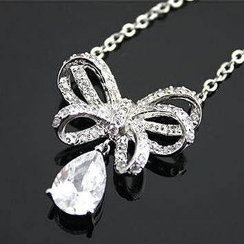 New Arrival Gift Jewelry Shiny 925 Silver Accessory Stylish Butterfly Water Droplets Diamonds Lock Necklace [8080528647]