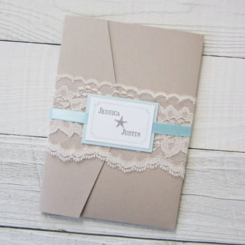 Beach Wedding Invitation - Starfish Ocean Tropical Destination Lace Pocket.  Purchase this listing for a Sample.
