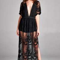 Sweetest Bohemian Gypsy Lace Maxi Dress