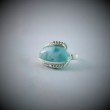 Wire Wrap Ring Larimar 925 Sterling Silver Size 9 Handmade Heady Jewelry Stone Ocean Blue Kyndvalley
