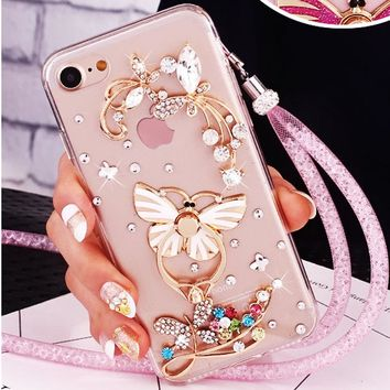 Luxury Girl Woman Lady Crystal Diamond Cover+3D Bling Glitt Phone Case For iPhone 8 5 6 6S 6plus 7 7plus Cover
