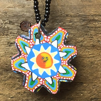 """Sun Mosaic 16"""" Necklace colorful with black bead choker"""