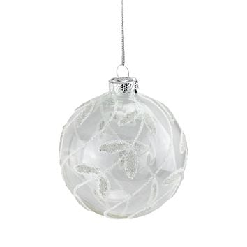 "3.25"" Clear with White Glitter Leaves Glass Ball Christmas Ornament"